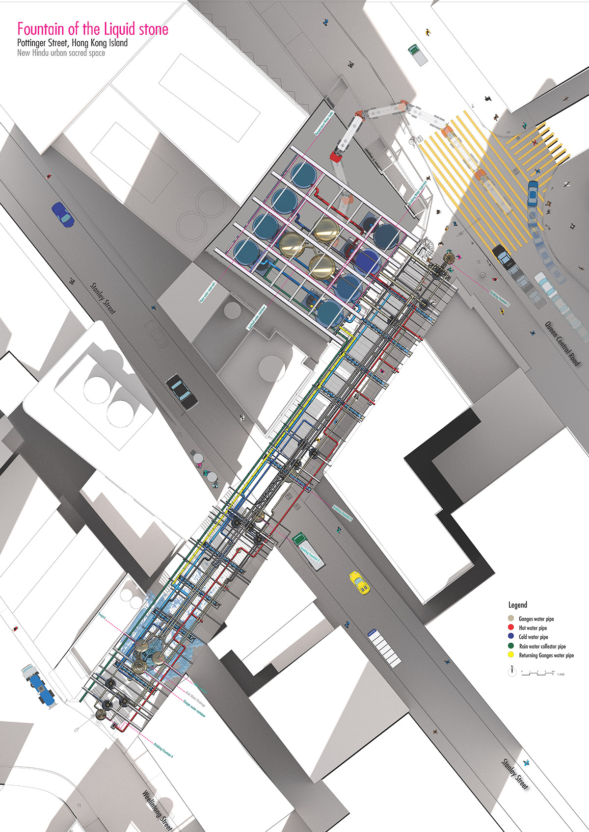 verasustudio_Fountain of the liquid stone_New Hindu Urban scared space_Pottinger Street, Hongkong_architecture_site plan drawing_water dilivery