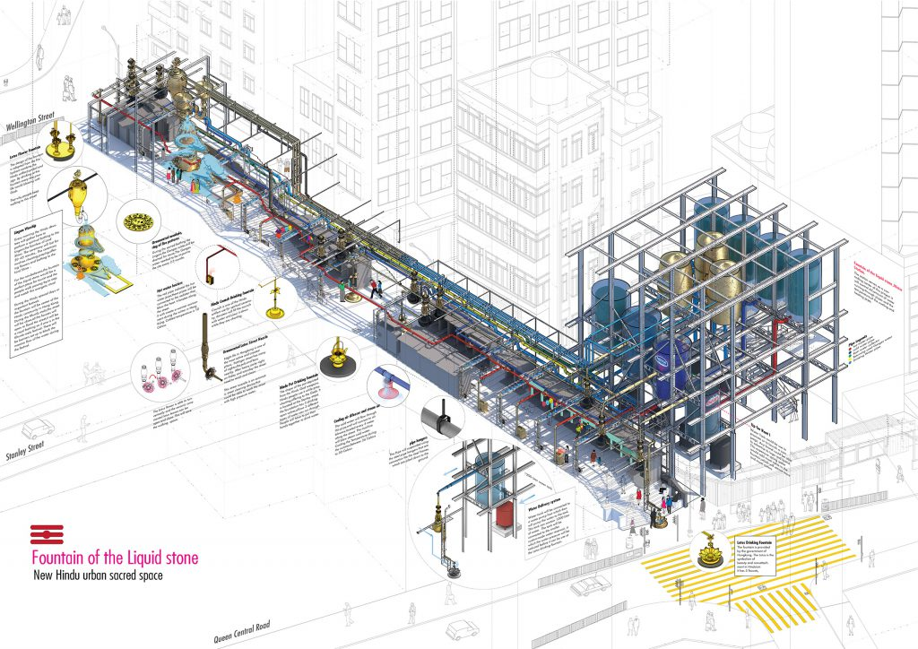 verasustudio_Fountain of the liquid stone_New Hindu Urban scared space_Pottinger Street, Hongkong_architecture _main isometric drawing