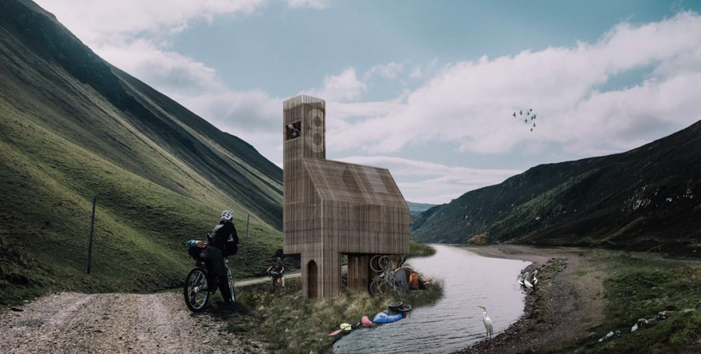 verasustudio work, beacon of refuge, 2019, a glance looking at a cabin stop for EuroVelo 6