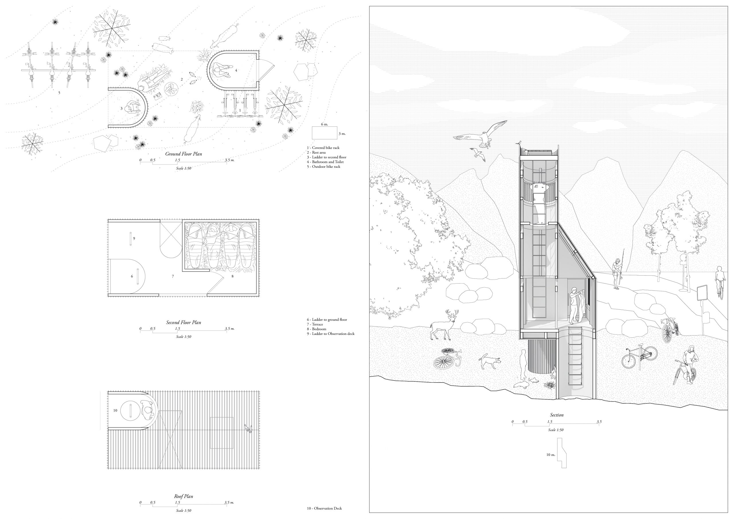 verasustudio work, beacon of refuge, 2019, Floorplan and Section drawing for a cabin stop for EuroVelo 6