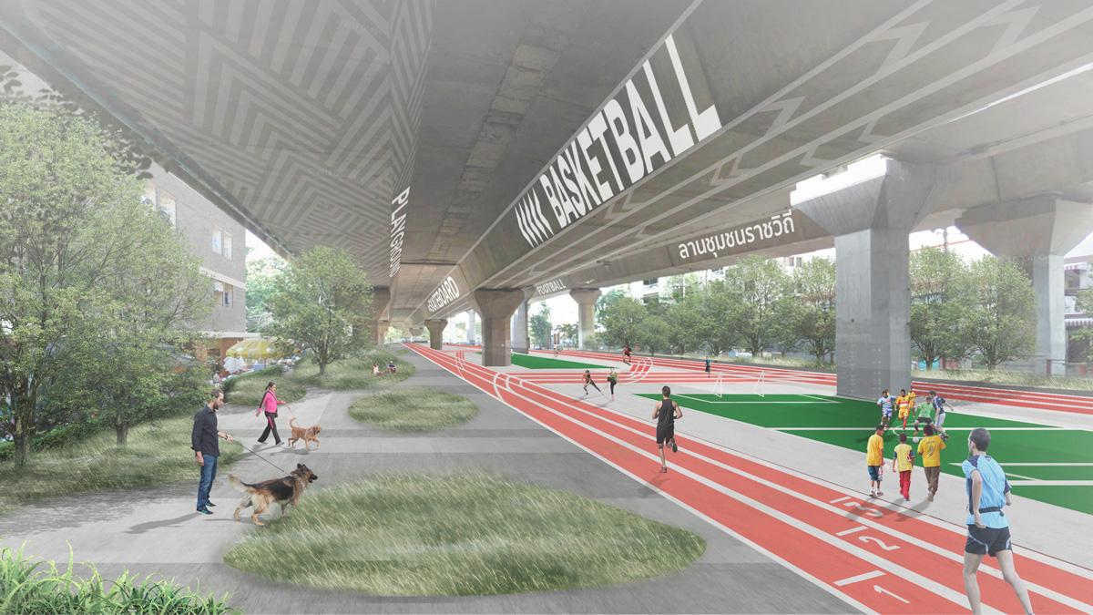 ย่านโยธี verasustudio work, Yothi, Medical District Urban Design, 2018, ออกแบบลานกีฬาใต้สะพาน